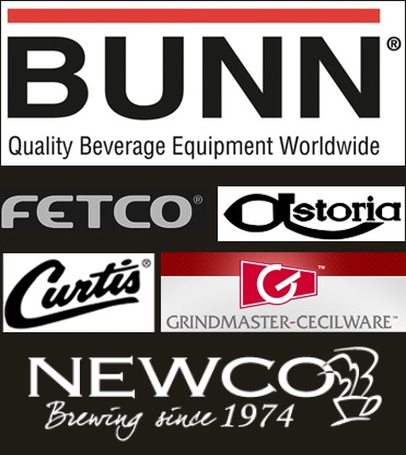 company logos for Bunn-o-matic, Fetco, Astoria, Curtis, and Grindmaster-Cecilware